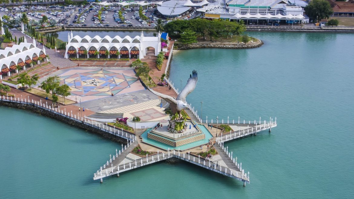 Aerial view of Eagle Statue At Eangle Land in Langkawi, included in tours offered by Asia Vacation Group