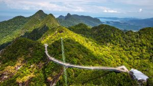 Aerial view of Sky Bridge in Langkawi, included in tours offered by Asia Vacation Group