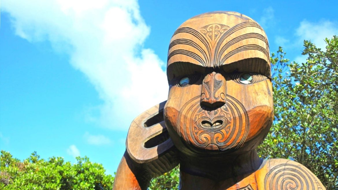 Maori Warrior Wood Carving Statue In Karekare Beach In The West Coast Of The North Island Near Auckland Asia Vacation Group 1
