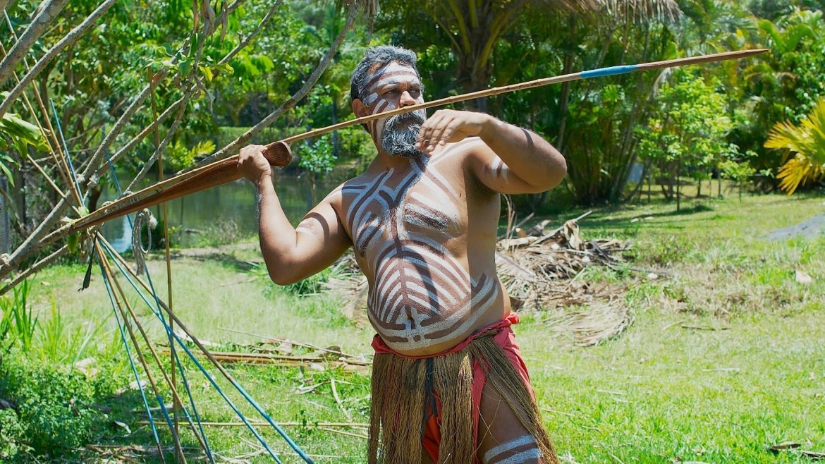 An aborigine Actor Throws A Spear In The Tjapukai Culture Park In Kuranda Queensland Australia