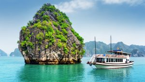 Ha long bay Cruise ship sailing, included in tours offered with Asia Vacation Group
