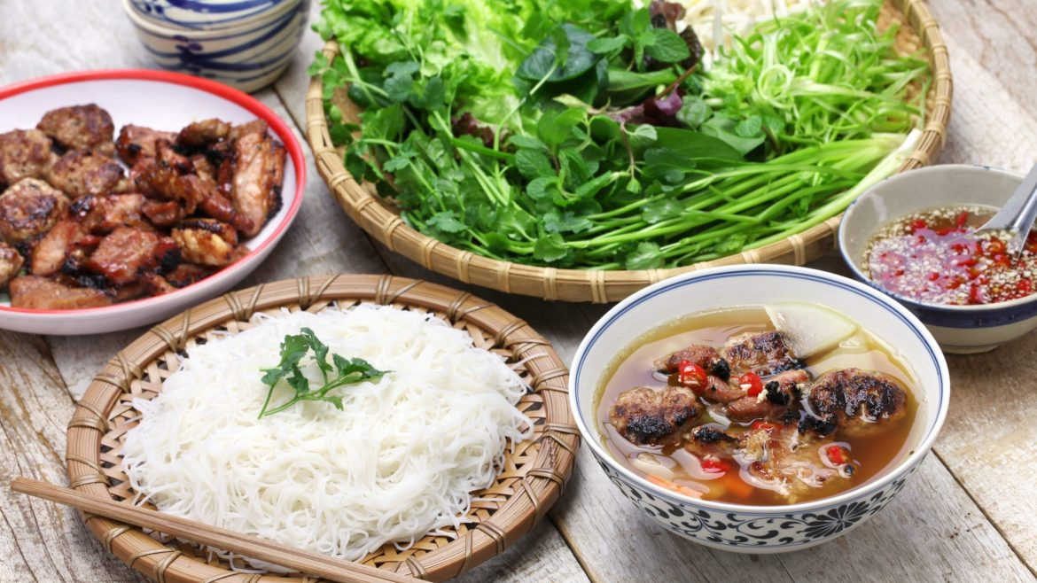 Bun cha dish in Hanoi, Vietnam, included in tours offered with Asia Vacation Group