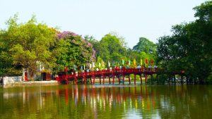 Hanoi The Huc Bridge, Vietnam, included in tours offered by Asia Vacation Group