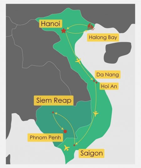 Itinerary Map of 15 Days Luxury Insights Of Vietnam And Cambodia Tour, offered by Asia Vacation Group