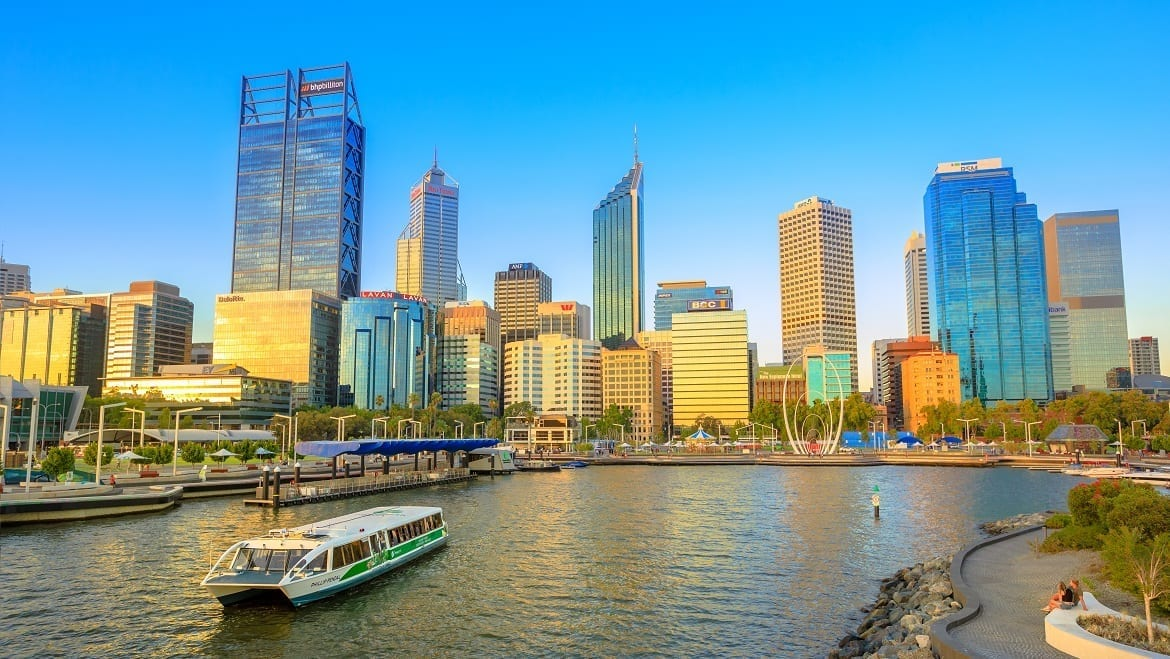 Turistic Ferry In Elizabeth Quay Marina At Sunset With Skyscrapers Of Central Business District On Background In Perth, Western Australia. travel tour holiday